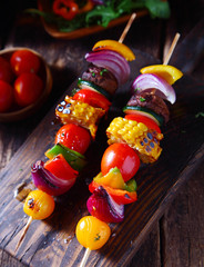 Colorful vegan vegetable skewers