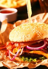 Tasty homemade cheeseburger on a sesame roll