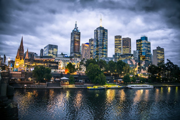 Melbourne city and the Yarra river at night