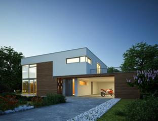 Haus Kubus 3 Holz mit Carport Abend