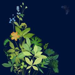Bouquet of wild flowers on a dark background