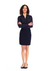 Young business woman isolated white.
