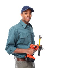 Handyman with drill and hammer.