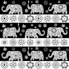Ethnic floral patterned elephants background