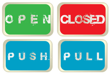 Open, closed, pull and push colored signs isolated over white ba