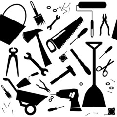 Seamless background with DIY or home repair tools