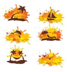 Set of abstract illustration - Tropical journey