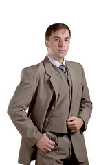 Business man standing portrait in old style suit isolated