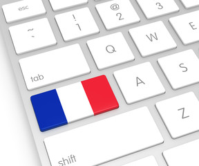 France Flag on Computer Key