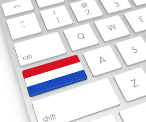 Netherlands Flag on Computer Key
