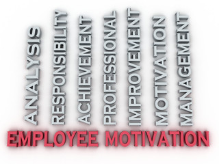 3d image employee motivation  issues concept word cloud backgrou