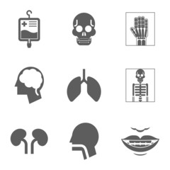 Medical care and health Isolated icons