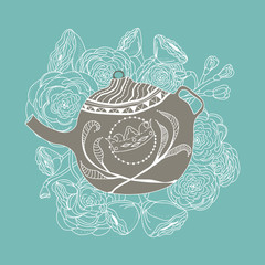 Hand-drawn floral motif with a teapot and roses around it