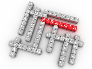 3d image Paranoia issues concept word cloud background