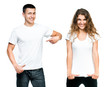 Teenagers With Blank White Shirt - 77894281