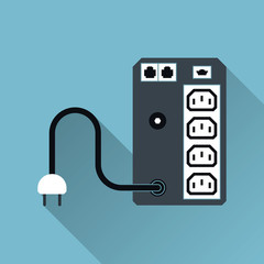UPS Uninterruptible Power Supply Icon, Long Shadow, Vector