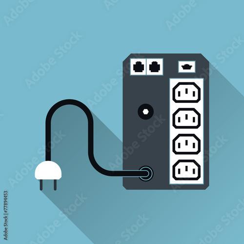 UPS Uninterruptible Power Supply Icon, Long Shadow, Vector - 77894453
