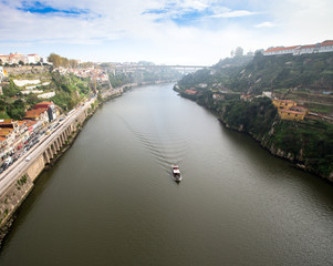 View of the River Douro and waterfronts in the city of Porto. Su