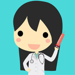 cute doctor woman with syringe