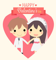cute couple widding.vector