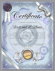 Vintage certificate template with detailed border on blue paper