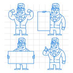 Guard doodle concept set 1