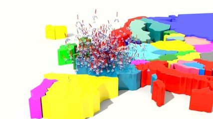 Animazione 3D mappa Europa con emissione di torre Eiffel