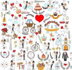 Набор элементов дизайна   свадьбу на пригласительных билетах
