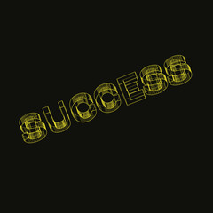 gold success text on black background