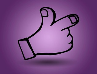 hand. vector on a purple background