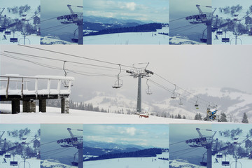 Открытка спорт зима горы Карпаты