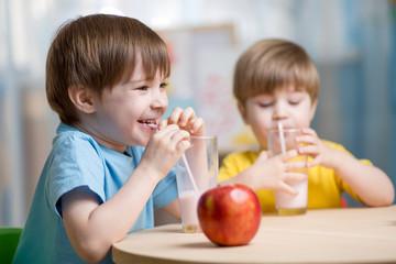 kids drinking milk at home