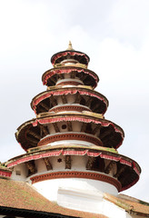 Closeup of round tower at the corner in Nasal Chowk Courtyard