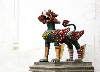 A lion guarding inside the Nasal Chowk Courtyard