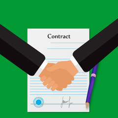 Signing of the contract, shaking hands on a green background