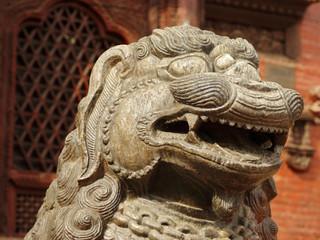 Closeup of lion statue in Hanuman Dhoka Durbar