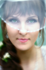 Bride with green eyes