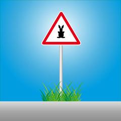 Ostern auf Verkehrsschild