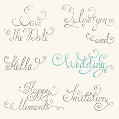 Vintage wedding lettering set