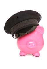 piggy bank wearing chauffeur hat