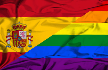 Waving flag of Pride and Spain