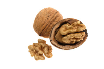 Walnuts in closeup on white background