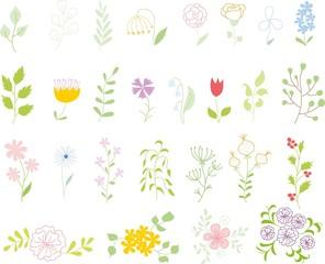 Набор цветочных элементов дизайна, рука рисунок