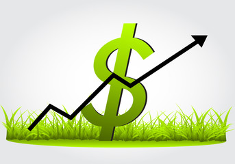 Graph,rise in the dollar, as the growth of grass vector