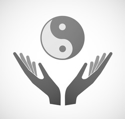 Two hands offering a ying yang