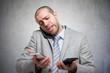 Stressed businessman at work