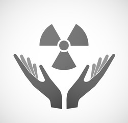 Two hands offering a radio activity sign