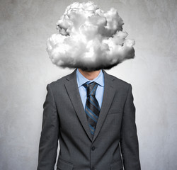 Businessman with a cloud around his head