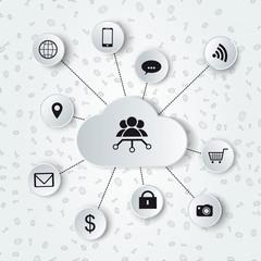 Monochromatic cloud computing and social media illustration
