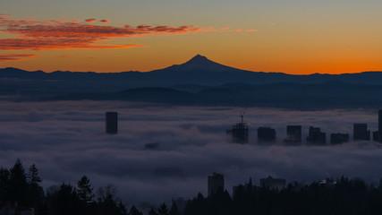 Time Lapse of Fog Over City of Portland Oregon at Sunrise